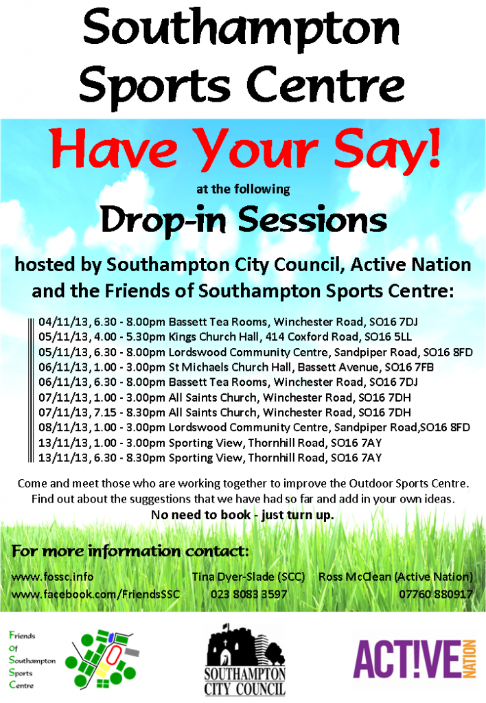 Drop in sessions re Sports Centre - Poster
